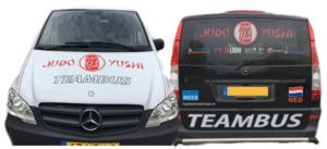 Judo Yushi teambus voor- en achterkant